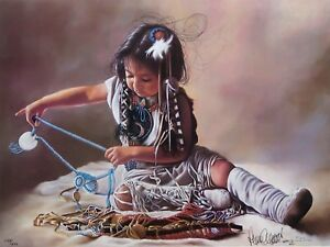 Penni Anne Cross SORTING HER BEADS SN Canvas Native American