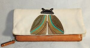 FOSSIL Long Live Vintage JULES Lady Bug LEATHER WALLET TAN BROWN SOFT