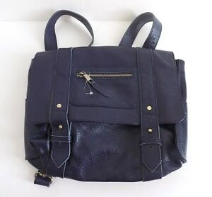 VERE VERTO 'REPETTO' LEATHER CONVERTIBLE HANDBAGBACKPACK NAVY BLUE NEW $440