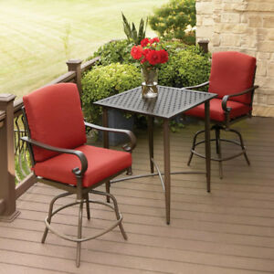 Hampton Bay Bistro Set Weather-Resistant Cushions Powder-Coated Steel (3-Piece)