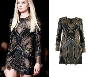 $20875 AMAZING!!!! SEXY!!! New Versace Embellished Black Leather Dress 40