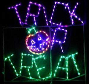 Happy Halloween Trick or Treat Outdoor LED Lighted Decoration Steel Wireframe