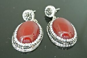 925 Sterling Silver 4 Ct Agate Cateye Turkish Druzy Latest Fashion Earrings