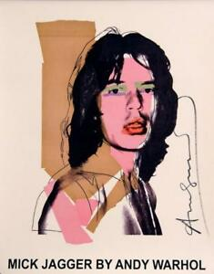 Andy Warhol Mick Jagger hand signed offset lithograph Rare Poster 1975 Framed