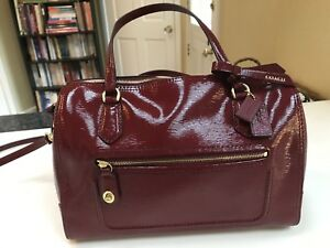 Coach Poppy Textured Patent Leather East West Satchel Red - NEW