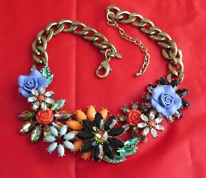 Signed Joan Rivers Floral Rhinestone Statement Bib Necklace Original Box Tags