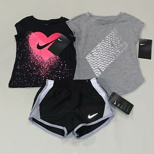 Girls Size 2 2t Nike Swoosh Shirt Running Shorts Outfit Set Athletic Clothes Nwt