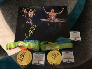 Usain Bolt & Michael Phelps Signed 11x14 Photo And Rio Gold Medals Fastest BAS