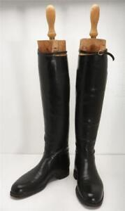 HENRY MAXWELL VINTAGE Womens Riding Hunting Tall Boots Original Wooden Lasts 39