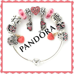 PANDORA Bracelet Silver Mom Daughter Bangle with Pink European Charms New