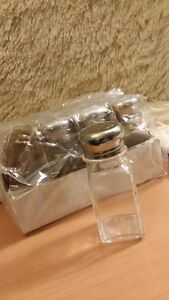 CLEAR GLASS SALT AND PEPPER SHAKERS W/STAINLESS STEEL SCREW TOPS NEW 4 PAIRS