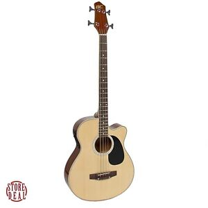 Acoustic Bass Guitar 4String Electric Equalizer Solid Construction Wood Natural