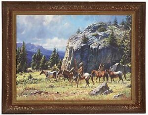 WARRIOR'S QUEST Martin Grelle CANVAS Framed SN LE wcoa Native American