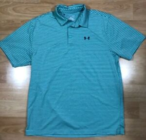 Mens UNDER ARMOUR Polo Shirt XL Green With Blue Srtipes Loose Heat Gear $26.99