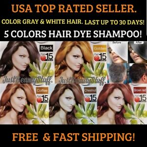 5 SACHETS INSTANT BLACK- BROWN- HAIR DYE SHAMPOO- FAST SIMPLE HAIR COLORING
