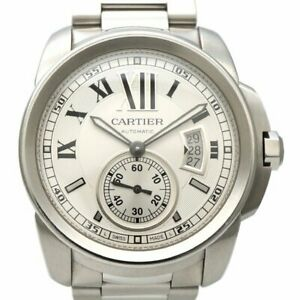 Used Auth CARTIER Calibre de Cartier W7100015 Men Watch Stainless steel AT White