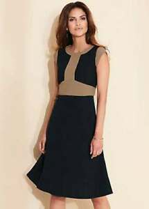 KALEIDOSCOPE BLACK AND CAMEL FLARED DRESS SIZE 16 NEW WITH TAG RRP £80.00