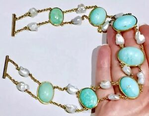 VERY Big cabs Victorian to Art Deco natural turquoise natural pearl 14k necklace