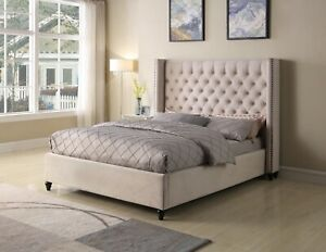 Beige Fabric Contemporary Queen Size 4piece Solid Wood Bedroom Furniture Set