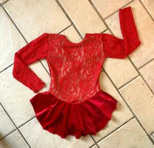 NEW Children GIRLS RED Floral Lace VELVET Competition FIGURE ICE SKATING DRESS