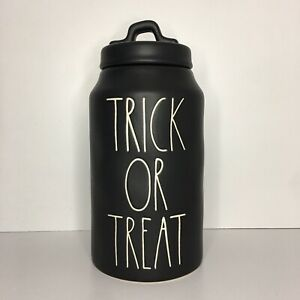 New Rae Dunn Trick Or Treat Black Large Letter LL Halloween Canister RATE HTF