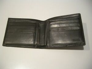 VINTAGE COACH WATER BUFFALO CALF BLACK LEATHER MEN'S SLIM BIFOLD  WALLET