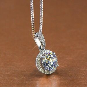 Certified 1.50Ct Round White Diamond Solitaire Pendant Solid 14k White Gold