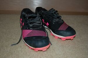 Under Armour Softball Cleats Pink & Black - Size 6Y