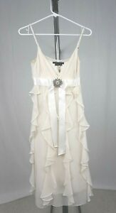 BCBG Flowy White Cocktail Dress with Crystal Embellishment Adjustable - Sz 4