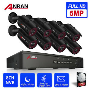ANRAN 8CH POE NVR HD 1080P Home Security Camera System Night Vision Outdoor 2TB
