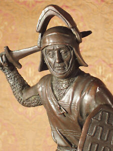 * True Bronze Metal Statue on Stone Medieval Middle Ages Knight Guard Fighter
