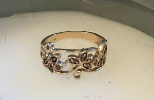 Estate Chocolate Diamond Foliage Leaf Ring 14k Yellow Gold Sz 4.25