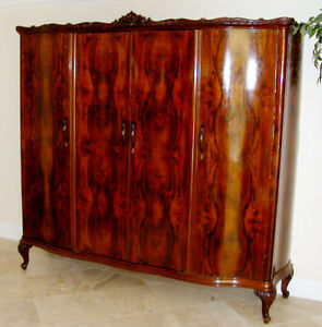 1700s-1800s Italian Bookmatched Walnut Burled Antique Armoire Cabinet  7' RARE!
