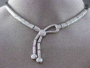 ESTATE LARGE 1.55CT DIAMOND 14KT WHITE GOLD 3D ETOILE LOVE KNOT CHOKER NECKLACE