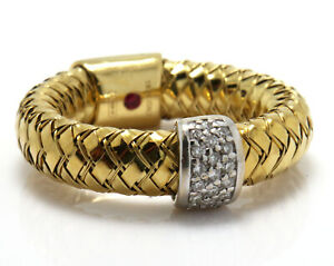 Roberto Coin PRIMAVERA Ring 18K Gold Woven Design Band with Pave Diamonds