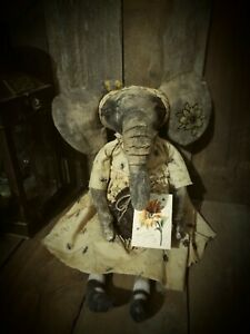 Primitive Elephant Girl Doll Sitter Decoration Collectible