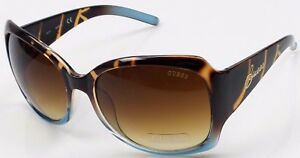 GUESS GUF200 TO-34A Women's Tortoise Frame Brown Lens Designer Sunglasses NEW