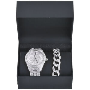Rapper Fully Iced Out CZ Silver Plated Watch and Cuban Bracelet SET WM 8708 S