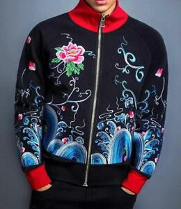 Mens Zip Jacket Japanese Pattern Embroidery Flower Tattoo Sea Wave Short Length