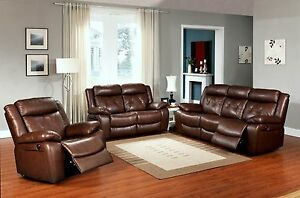 Brown 3 PC Top Grain Leather Power Reclining sofa set