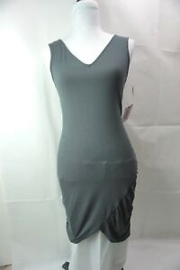 Sexy Gray V-Neck Front and Back Sleeveless Designer Dress Size M