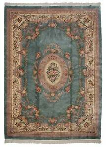 RRA 10x14 Fine Aubusson design Light Green Rug 019453