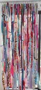 Handmade Colorful Boho Gypsy Hippie Rag & Bead Window Curtains Door Cover 7ft.