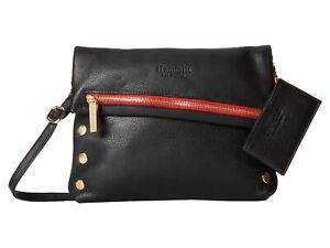 Hammitt Black Gold Red Zip Soft Leather VIP Crossbody Shoulder Bag Handbag New