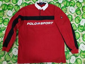 Vintage VTG Polo Sport Ralph Lauren Spell Out P-Wing Stadium Bear RUGBY Shirt L