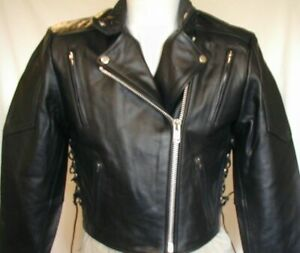 New Womens Premium Black Leather Vented Motorcycle biker Shorty Jacket LARGE