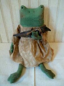 Primitive Grungy Mrs. Frog Lady Doll & Her Little Crow