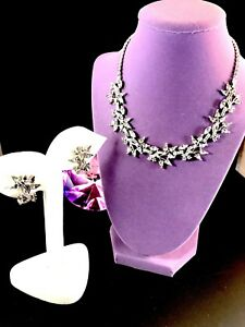 50'S PENNINO RHODIUM BLACK DIAMOND RHINESTONE FLORAL COLLAR NECKLACE EARRING SET