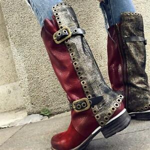 Genuine Leather Buckle Retro Women's Casual Splice Mid Calf Boot Biker Shoes New