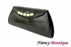 CLEARANCE SALE NEW Black Lizard Leather Women Designer Clutch Handbag Bag BLK o